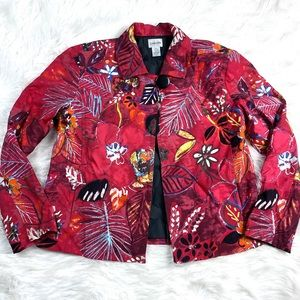 Chico's Artsy Floral Blazer Jacket Size 1